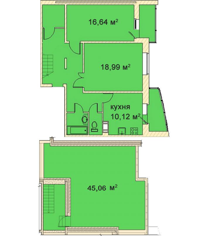 Планировка Двухкомнатная квартира площадью 99.24 кв.м в ЖК «Медный всадник»