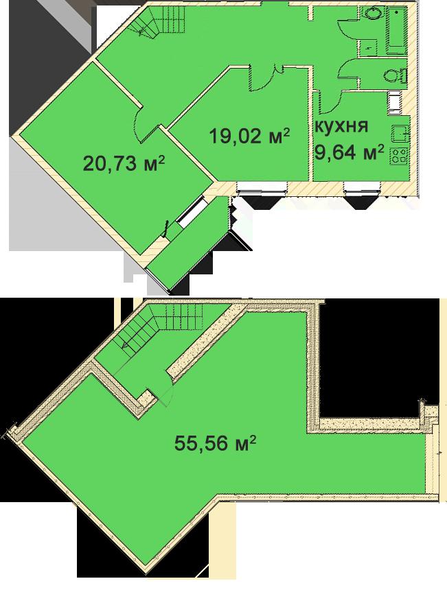 Планировка Двухкомнатная квартира площадью 100.8 кв.м в ЖК «Медный всадник»