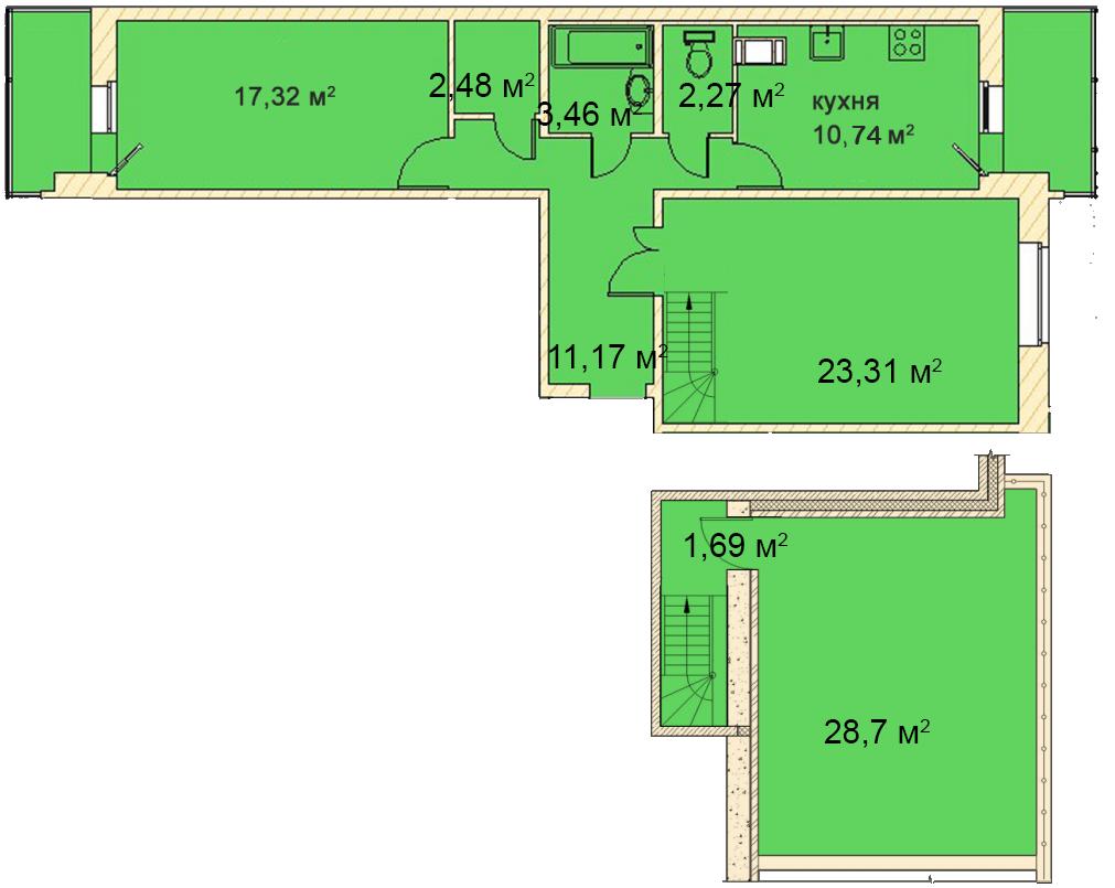 Планировка Двухкомнатная квартира площадью 88.6 кв.м в ЖК «Медный всадник»